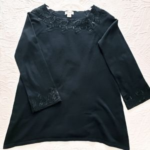 Style and Co, Lace Trimmed Tunic Sweater Sz PM